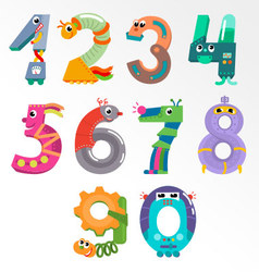 Numbers like robots vector image vector image