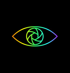 photography logo rainbow gradient eye line art vector image