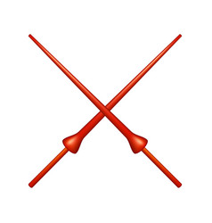 two crossed lances in red design vector image vector image