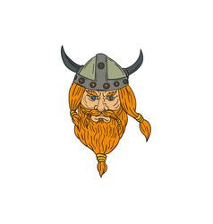 norseman viking warrior head drawing vector image
