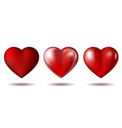 Set of Red heart icon isolated on white vector image vector image