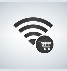 wifi connection signal icon with shopping cart vector image