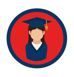 color circular emblem with woman with graduation vector image vector image