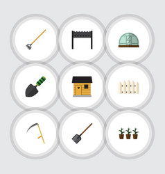 Flat icon farm set of shovel stabling tool and vector