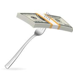 Fork and money vector image vector image