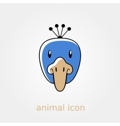 Peacock flat icon Animal head vector image vector image