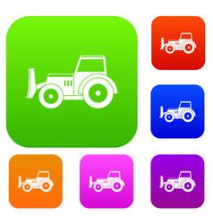 Skid steer loader set color collection vector