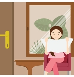woman reading newspaper sitting on chair vector image
