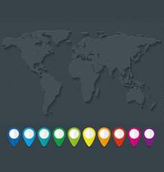world map and set of colorful map pointers vector image vector image