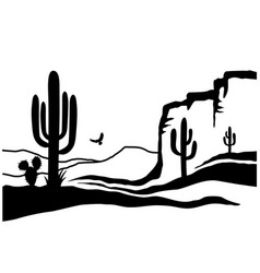 american desert with cactuses black silhouette vector image