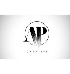 Ap brush stroke letter logo design black paint vector