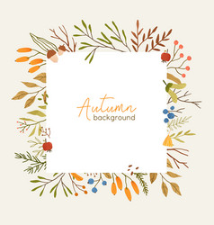 Autumn botanical square frame flat template vector
