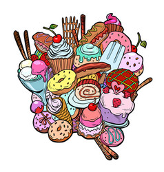 Baking sweets delicious food birthday isolate vector