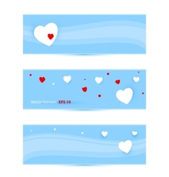 Banners with hearts vector