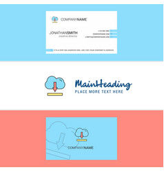beautiful cloud downloading logo and business vector image