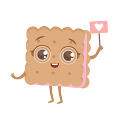 Biscuit sandwich cute anime humanized cartoon food vector