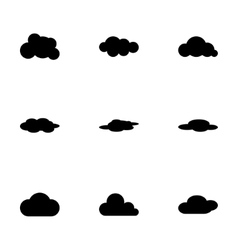 Black cloud icon set vector