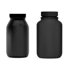 Black supplement bottle medicine pill jar set vector