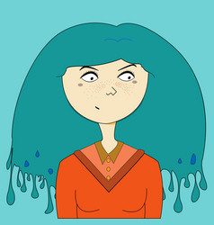 blue hair girl portrait vector image