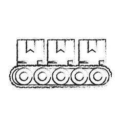 Blurred silhouette cartoon packages in conveyor vector