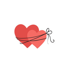 bound two hearts icon for valentines vector image