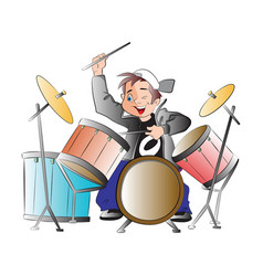 boy playing drums vector image