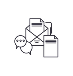 business messages line icon concept business vector image