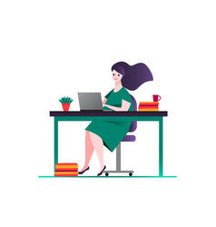 Business woman in green dress sitting on a chair vector