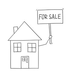 cartoon drawing of family house holding for sell vector image