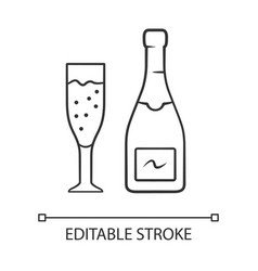 champagne linear icon uncorked bottle flute glass vector image