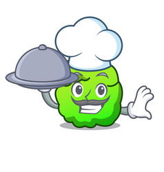 Chef with food shrub mascot cartoon style vector