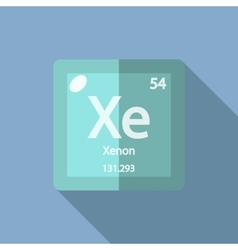 Chemical element xenon flat vector