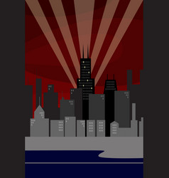 Chicago skyline at night vector