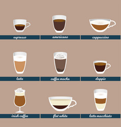 coffee set different kinds hot beverages vector image