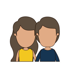 Colorful caricature faceless front view half body vector