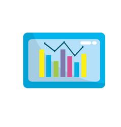 Computer with statistics diagram bar vector