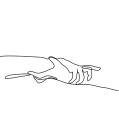 Continuous line drawing holding hands together vector