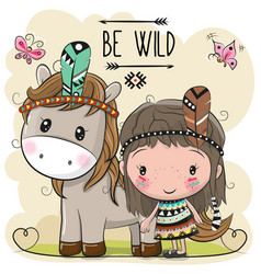 Cute cartoon tribal girl and horse with feather vector