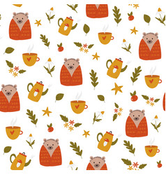 cute seamless pattern with funny hedgehogs vector image