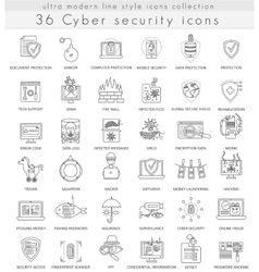 Cyber security technology ultra modern vector image