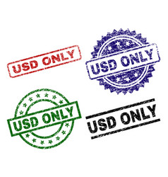 Damaged textured usd only seal stamps vector