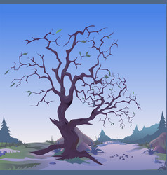 dark withered tree in twilight sketch for vector image