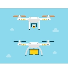 Drone with camera and box Air Photography vector image