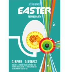 Easter Techno Party Flyer vector image