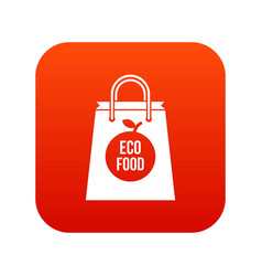 eco food bag icon digital red vector image