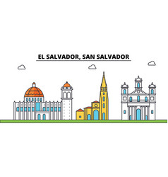 El salvador san salvador outline city skyline vector