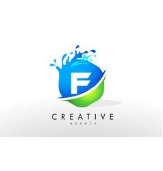 f letter logo blue green splash design vector image
