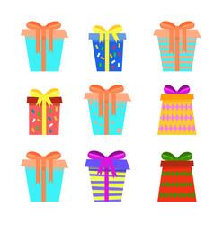festive asymmetric christmas gift boxes collection vector image