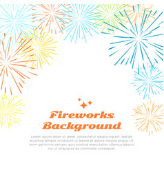 Fireworks background colorful salute on white vector