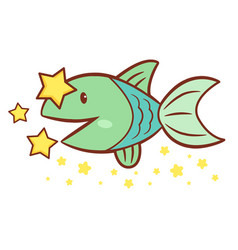 Fish character side signs of zodiac isolated vector